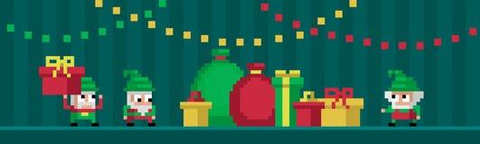 Pixelkunst drie leuke gnomen Stock Afbeelding