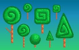 Pixelkunst gestileerde bomen Royalty-vrije Stock Foto's