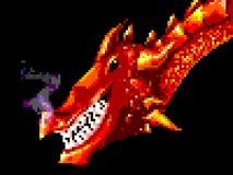 Pixelkunst het grijnzen rode draak Stock Fotografie