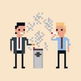 Pixelkunst Illustration des Büroangestelltrauchens Stockbild