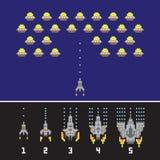 Pixelkunstartraumkriegs- und -raumschiffspiel verbessert Vektorsatz Stockbilder