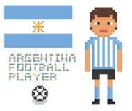 Pixelkunstfußball- oder -fußballargentinien-Spieler, Stockbilder