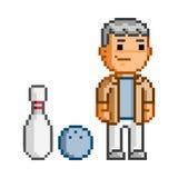 Pixelkunstmann und -bowlingspiel Stockbild