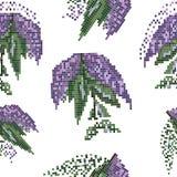 Pixelkunstmuster nahtlos mit Flieder Stockbilder