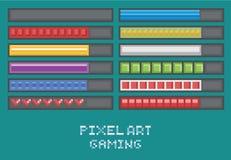 Pixelkunstspieleentwicklung eingestellt - Fortschrittsstange Stockfotos