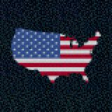 USA map flag on hex code illustration. Pixellated USA map flag on shades of blue hex code illustration Stock Photography