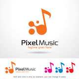 PIXELmusik Logo Template Design Vector Royaltyfri Illustrationer