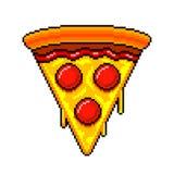 Pixelplak van pizza gedetailleerde illustratie geïsoleerde vector stock illustratie