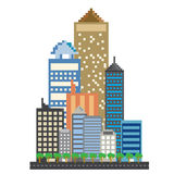 Pixels art building in the city Royalty Free Stock Photography