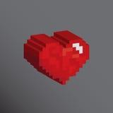 Pixels art 3D heart shape designs. Love concept Stock Image