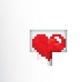 Pixels art heart shape inside white background Stock Image