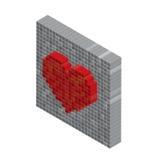 Pixels art tile heart 3D designs love concept. White background Royalty Free Stock Photos