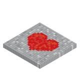 Pixels art tile heart 3D designs love concept. White background Royalty Free Stock Photo