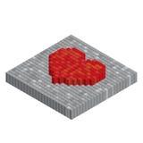 Pixels art tile heart 3D designs love concept. White background Royalty Free Stock Image