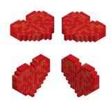 Pixels art tile heart 3D designs love concept. White background Royalty Free Stock Images