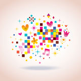 Pixels characters flowers Royalty Free Stock Photos