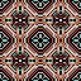 Pixels colorés dans le modèle sans couture de rétro vintage tribal de style Photos stock