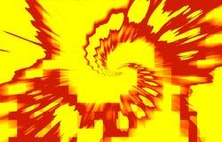 Pixels destructifs en spirale rouges sur un fond jaune illustration de vecteur