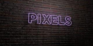 PIXELS - enseigne au néon réaliste sur le fond de mur de briques - image courante gratuite de redevance rendue par 3D Photos stock