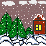 Pixels house and the forest winter landscape vector illustration Royalty Free Stock Image
