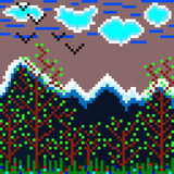 Pixels mountain and forest vector illustration Stock Photos