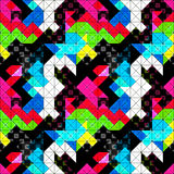 Pixels psychedelic seamless pattern vector illustration Stock Images