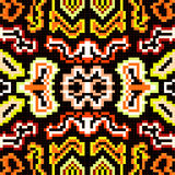 Pixels in a retro style tribal vintage seamless pattern Royalty Free Stock Photo