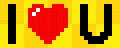 pixel met 8 bits I U van het Hart Stock Fotografie