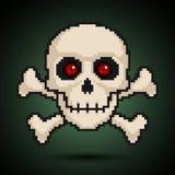 Pixelschedel en gekruiste knekels Stock Afbeelding