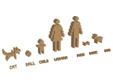 PIXELsilhouette för familj 3d Arkivbild