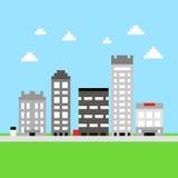 Pixelstadtgebäude Lizenzfreie Abbildung