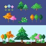 PIXELträd och blommauppsättning vektor illustrationer
