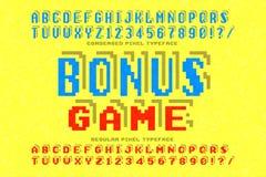 Pixelvektorschriftart, stilisiert wie in 8-Bit-Spielen Lizenzfreie Stockfotos