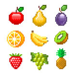 Pixelvruchten voor de vectorreeks van spelenpictogrammen Stock Fotografie