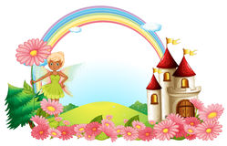 A pixie and a castle Royalty Free Stock Photography