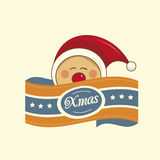 Pixie christmas label Stock Photography