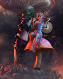 Pixie on mushroom with clock. 3D render of a pixie in purple dress on fantasy muhsroom and clock Royalty Free Stock Photo