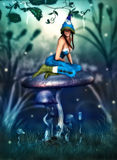 The pixie and the mushroom Stock Photography