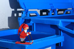 Pixie in the recycle room skiing Royalty Free Stock Image