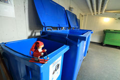 Pixie skiing in the recycle room Stock Photo