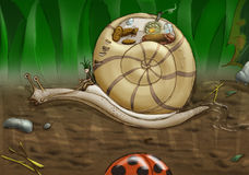 Pixie and snail. Colored sketch of pixie riding a snail Stock Photo
