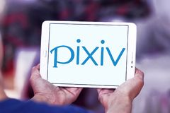 Pixiv online community logo. Logo of Pixiv online community on samsung tablet. Pixiv is a Japanese online community for artists. Pixiv aims to provide a place Royalty Free Stock Image