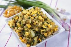 Piyaz Saag Bhaji, Ui Plantaardige Snack royalty-vrije stock afbeeldingen