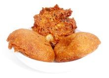 Piyazu and Potato chop. Fresh snack over white background Royalty Free Stock Photo