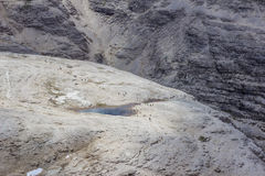 Piz Boe glaciärvatten Arkivfoto