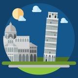 piza方形大厦平的设计  免版税库存照片