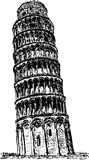 Piza. Vector - Hand draw ancient tower in Piza Stock Photo