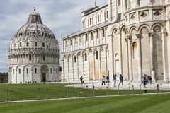 PIZA, ITALY - 10 MARCH, 2016: View of Leaning tower and the Basi Royalty Free Stock Image