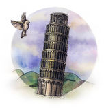 The Piza tower watercolor hand drawing, famouse arhitectural buillding isolated Stock Image