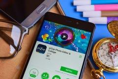 piZap συντάκτης & κολάζ dev app φωτογραφιών στην οθόνη Smartphone στοκ φωτογραφίες